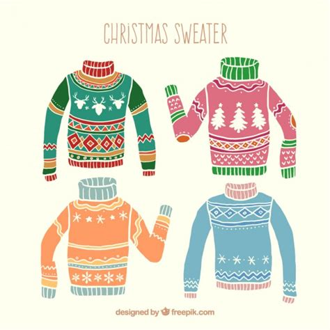 christmas jumper pattern vector hand drawn colored christmas sweaters vector free download