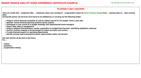 Experience Letter Format For Finance Manager senior finance analyst work experience certificate
