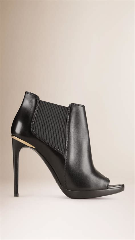 burberry peep toe leather ankle boots in black lyst