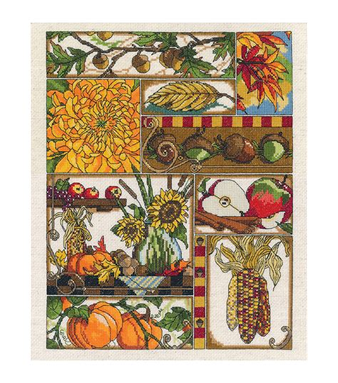 Cross Stitch Kit 80713 autumn montage counted cross stitch kit 11 quot x14 quot 14 count jo