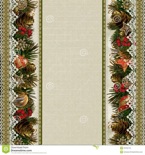 Retro Paper Christmas Decorations - borders of christmas decorations with lace on vintage background royalty free stock image