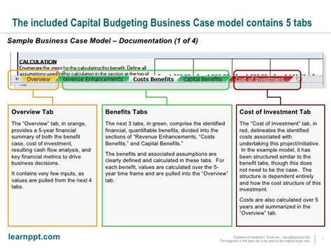 business case excel financial model documentation