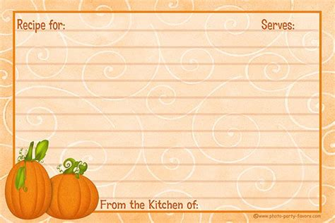 pumpkin recipe cards templates free free recipe card templates recipe cards free