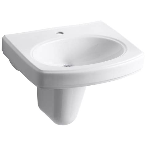 Kohler Kitchen Sink Drain Kohler Pinoir Wall Mount Vitreous China Bathroom Sink In White With Overflow Drain K 2035 1 0