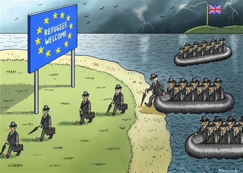 refugee boat hoax refugees welcome by marian kamensky politics cartoon