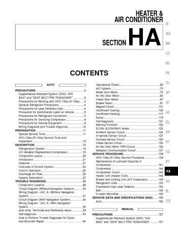 car service manuals pdf 2003 nissan maxima auto manual download 2003 nissan maxima heater air condition section ha pdf manual 244 pages