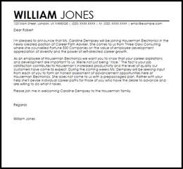 New Career Cover Letter by New Employee Announcement Letter Announcement Letters