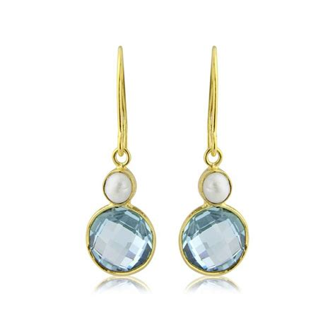 blue topaz and pearl earrings by argent of