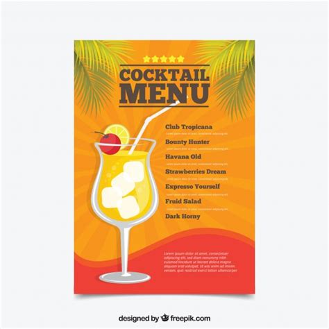 Cocktail Menu Template In Flat Design Vector Free Download Cocktail Menu Template Free