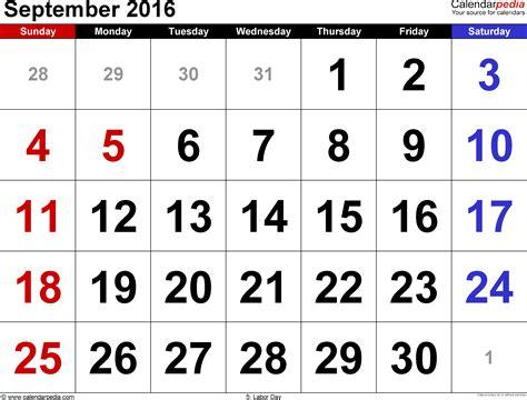 Kalender 2016 September September 2016 Calendars For Word Excel Pdf