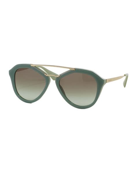 Acetatemetal Logo Sunglasses by Prada Acetate Metal Aviator Sunglasses Green