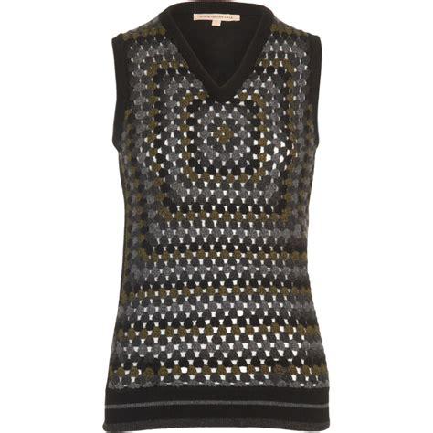 grey knit vest christopher crochet knit vest in gray grey lyst