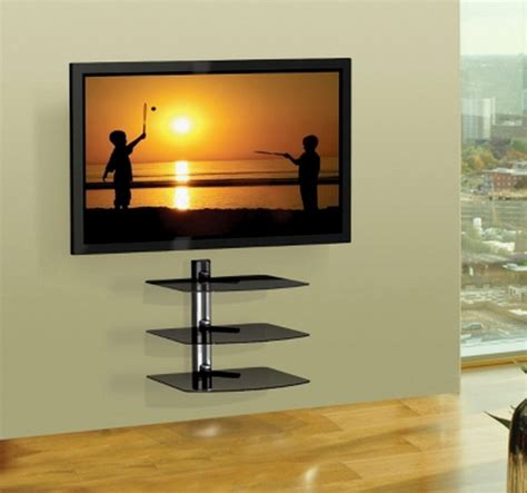 Tv Wall Mounts With Shelf by New 3 Shelf Wall Mount Av Equipment Holder Home Theatre