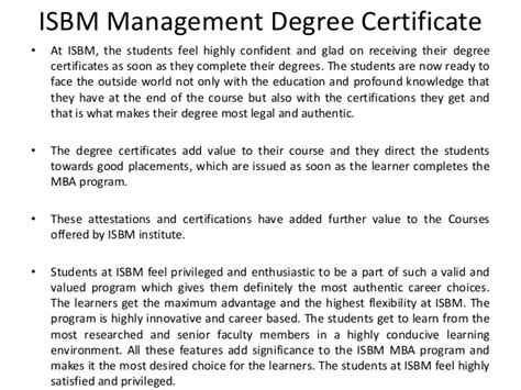 Executive Mba From Isbm by Isbm Mba Certificate Attestation