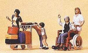 Preiser 10479 3 In Wheelchair passengers travelers pushing cart wheelchair 1 model