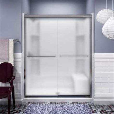Frosted Glass Sliding Shower Doors Alcove Shower Doors Shower Doors The Home Depot