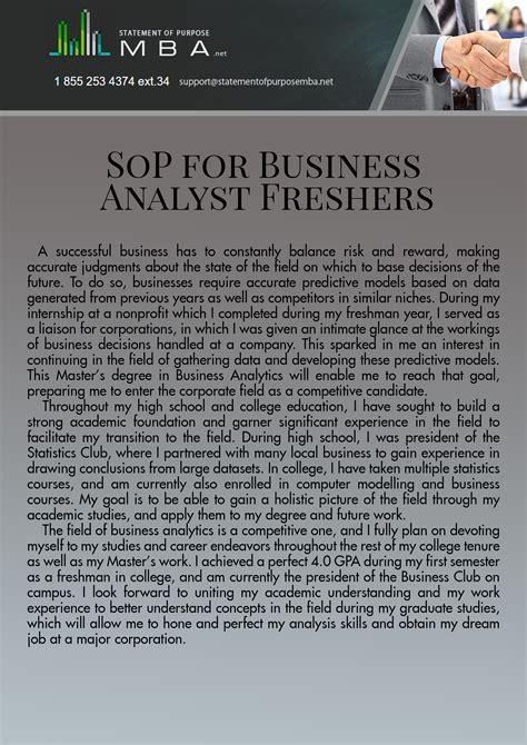 Sop For Mba Freshers by Sop For Ms In Business Analytics Statement Of Purpose Mba
