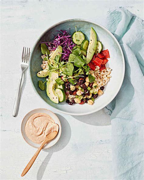 Salad Bowl rice and bean salad bowl with tahini sauce