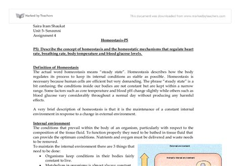 Homeostasis Essay by Describe The Concept Of Homeostasis And The Homeostatic Mechanisms That Regulate Rate