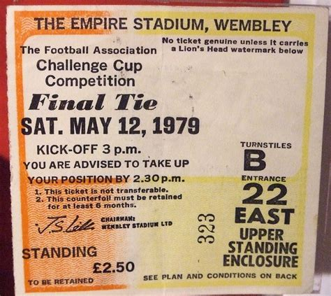 arsenal away tickets a ticket from the 1979 fa cup final arsenal tickets