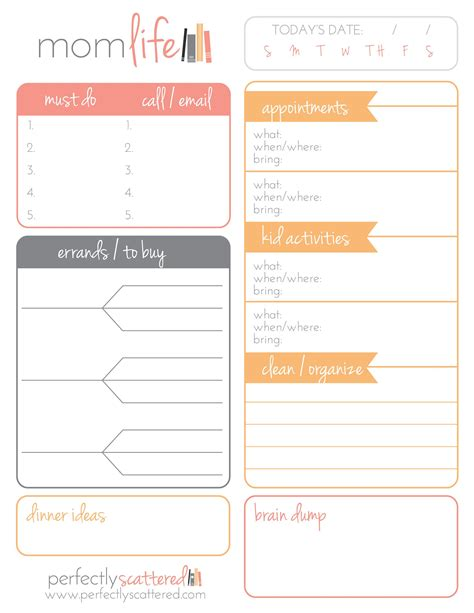 Printable Mom Planner Pages | free printable daily planner for moms free printable