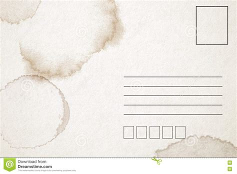 backside of postcard template backside of blank postcard with stain stock photo image