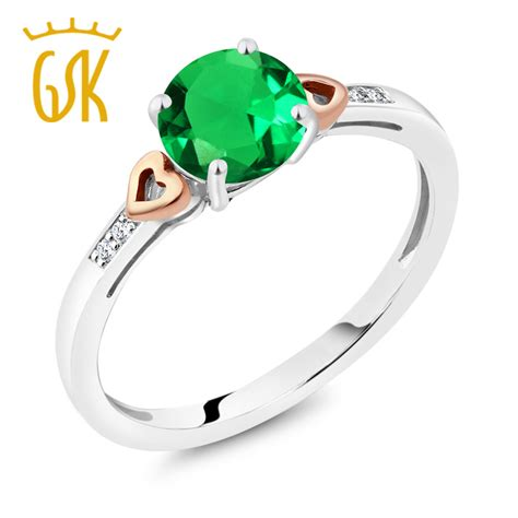 Fastron Gold With Nano Guard 925 sterling silver and 10k gold ring nano emerald with accent in rings from