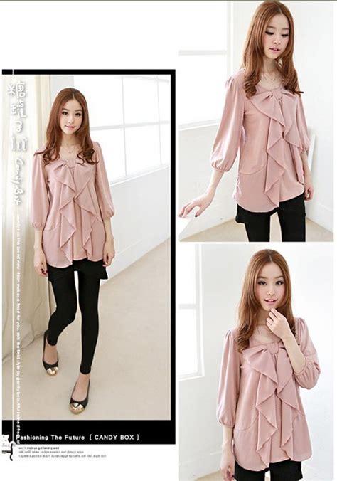 Axara Pink Opdress Lengan Panjang Murah Cantik blouse wanita import cantik pink model terbaru jual