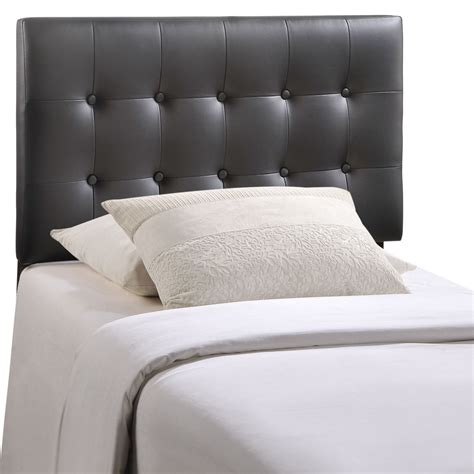 black headboard twin emily modern button tufted twin faux leather headboard black