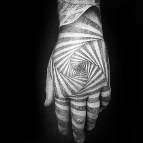 geometric illusion tattoo 40 geometric hand tattoos for men pattern design ideas