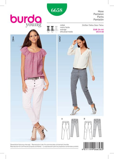 pattern of review article burda 6658 misses pants