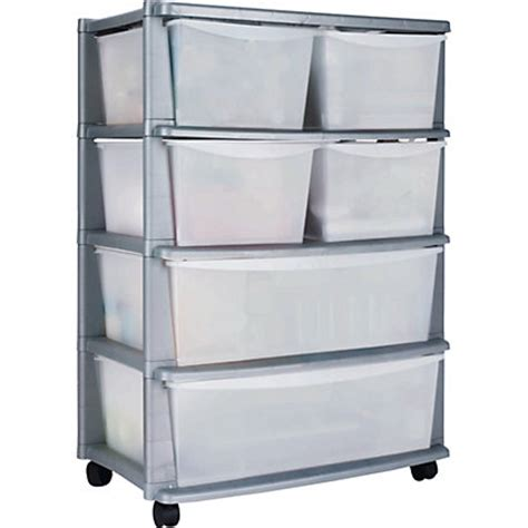 plastic drawer tower 6 drawer plastic wide storage tower unit silver
