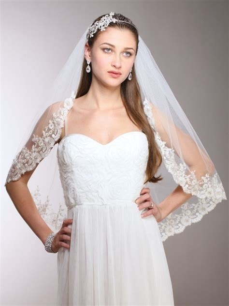 vintage white ivory edge waist length mantilla bridal wedding veil ebay