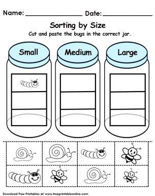 printable preschool sorting activities sorting by size worksheet free printable worksheets