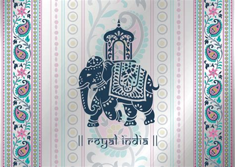 indian pattern ai indian patterns with elephants vector set 03 vector