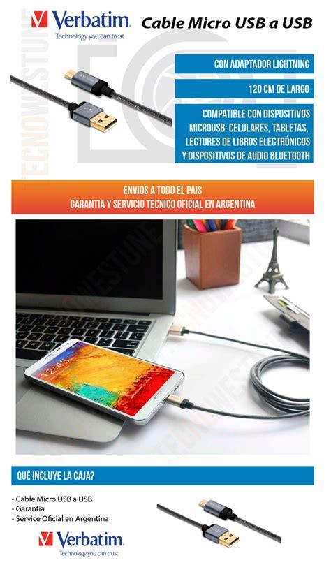 Verbatim 120cm 2 In 1 Cable cable micro usb trenzado verbatim 120 cm tecnowestune store