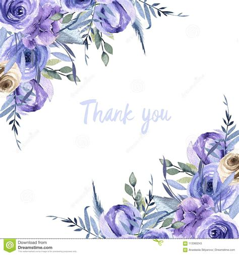 watercolor thank you card template watercolor blue roses and plants card template thank you