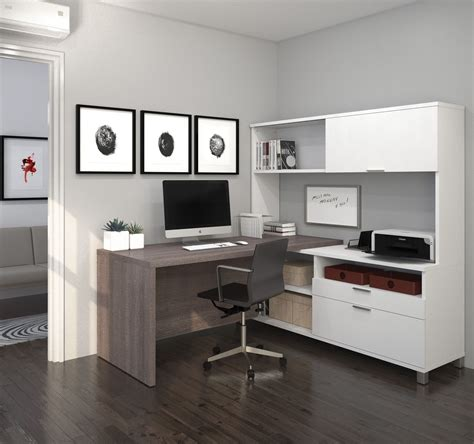 grey desk with hutch pro linea white bark grey drawer l desk with hutch from