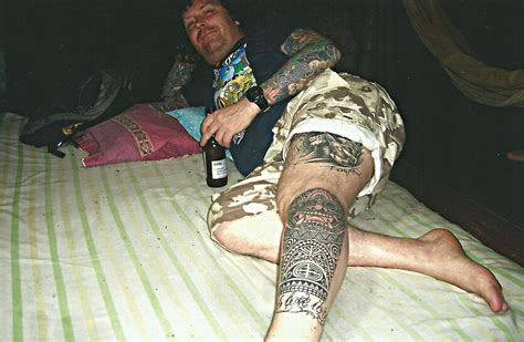 tribal thong tattoo tribal totem on leg big magic koh phangan thailand