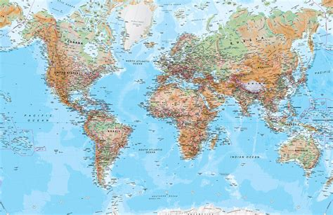 world map physical world map mural wallpaper murals wallpaper