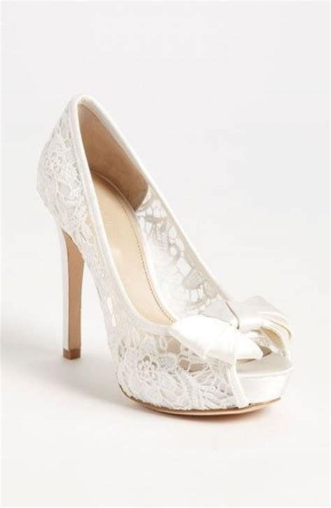 Lace Wedding Heels by Peep Toe Shoes Sheer White Lace Peep Toe Wedding Shoe