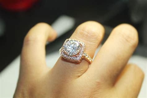 18k gold gp 4 carat swarovski crystal engagement wedding