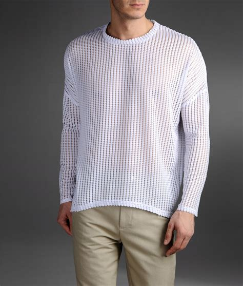 Origami Sweater - emporio armani origami effect mesh sweater in white for
