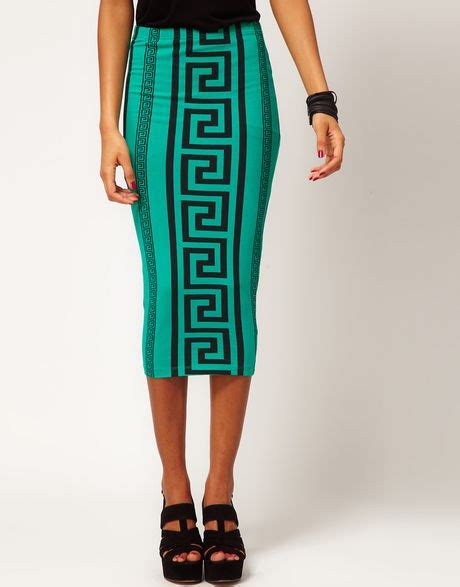 asos pencil skirt in aztec print in white lyst