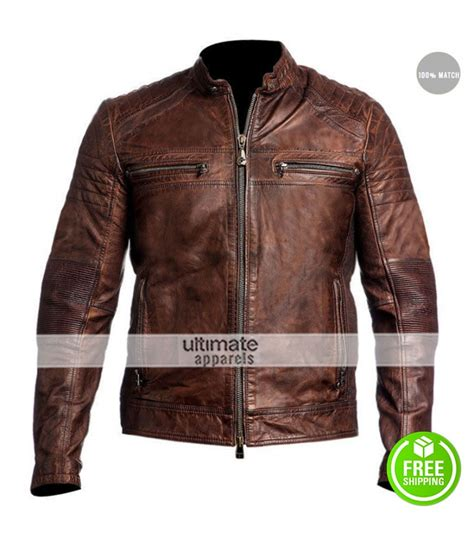 leather racing jacket cafe racer 2016 biker brown leather jacket