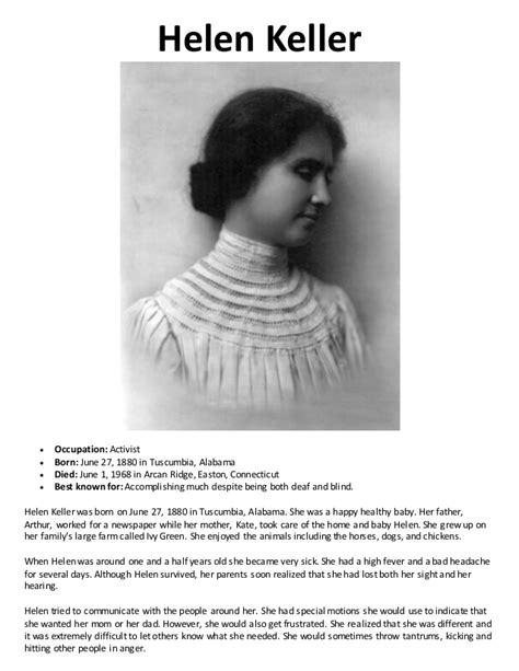Biography Of Helen Keller In English | women s history binder