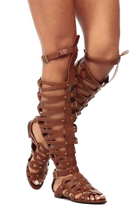 thigh gladiator sandals faux leather thigh high gladiator sandals cicihot