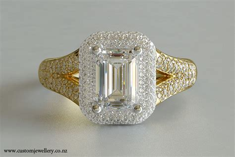 emerald cut pave split shank yellow gold