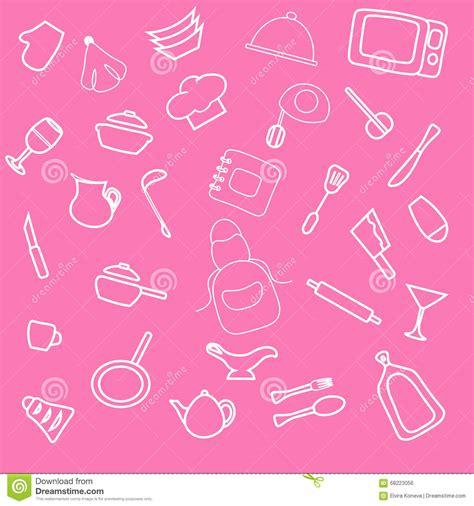 wallpaper doodle pink set of hand drawn cookware cartoon vector cartoondealer