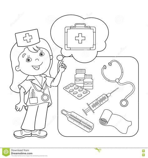 cassetta pronto soccorso scout profilo della pagina di coloritura di medico fumetto
